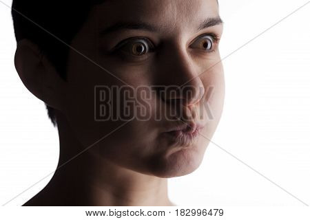 Girl With A Short Hair Making Expressions