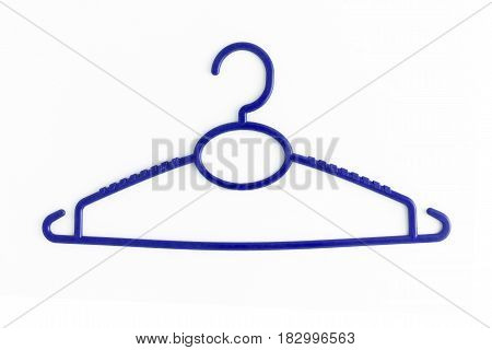 One Colored Plastic Hanger, Isolated On White Background, Close-up