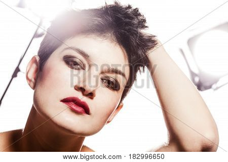 Studio Portrait Of A Girl With Short Hair