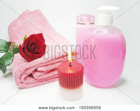 spa face tonic creme liquid soap candles towel