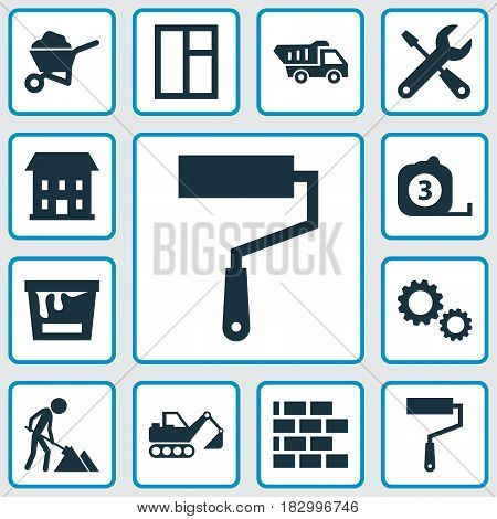 Construction Icons Set. Collection Of Cogwheel, Digger, Home And Other Elements. Also Includes Symbols Such As Barrow, Tipper, Wheelbarrow.
