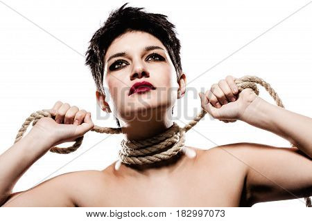 Girl With Short Hair And Rope