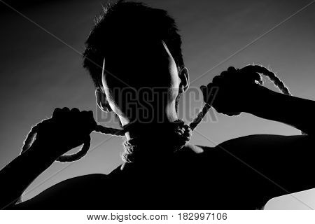 Girl With Short Hair And Rope Silhouette