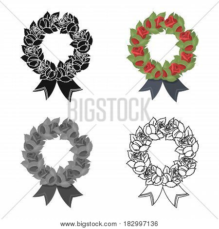 Funeral wreath icon in cartoon design isolated on white background. Funeral ceremony symbol stock vector illustration.