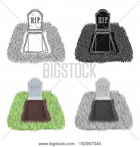 Grave icon in cartoon design isolated on white background. Funeral ceremony symbol stock vector illustration.