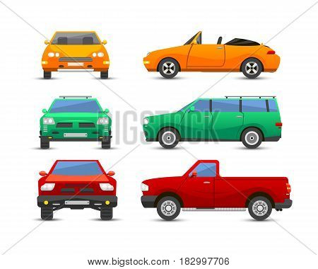 Flat car vehicle type design sign technology style vector generic classic business illustration isolated. Transportation luxury side view travel contemporary fast traffic.