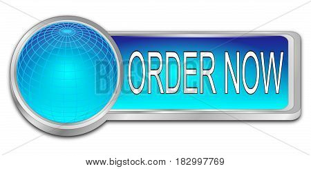 glossy blue Order now dash Button - 3D illustration