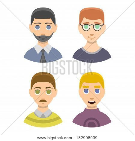 Caucasian emotion male head stressed character portrait loneliness and surprised thoughtful guy vecor illustration. Expression face pain man concept disappointed worried handsome look.
