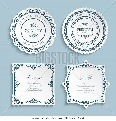 Set of ornamental labels, cutout paper frames with curly border decoration, vintage calligraphic vignettes