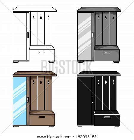 Vestibule wardrobe icon in cartoon style isolated on white background. Furniture and home interior symbol vector illustration.