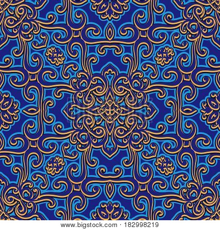 Vintage swirly ornament, arabesque, decorative seamless pattern