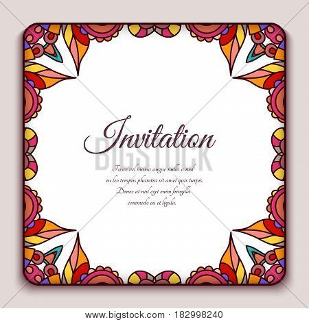 Square frame with ornamental corners, decorative element for invitation card or packaging design
