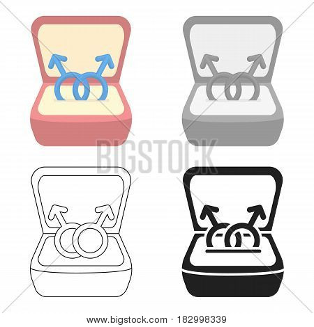 Ring icon cartoon. Single gay icon from the big minority, homosexual cartoon.