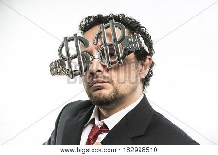Fortune Businessman with suit and glasses in the form of dollars. Expressions of stress, overwhelm and craving for money