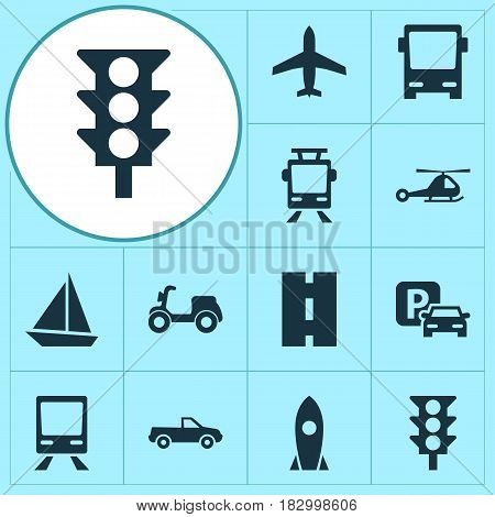 Transport Icons Set. Collection Of Skooter, Streetcar, Way And Other Elements. Also Includes Symbols Such As Motorbike, Trolley, Bus.
