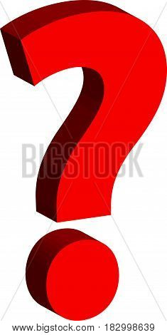 3D question mark isolated on white background. Vector illustration.