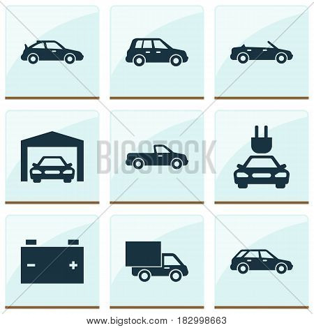 Automobile Icons Set. Collection Of Carriage, Car, Convertible Model And Other Elements. Also Includes Symbols Such As Garage, Crossover, Truck.