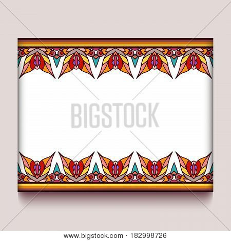 Colorful frame with border ornament of autumn leaves, decorative element for greeting card or packaging design