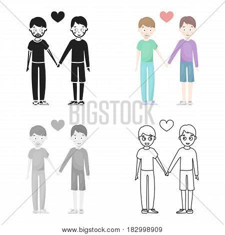 Gay icon in flat style isolated on white cartoon. Gay symbol vector illustration.