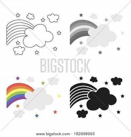 Rainbow icon cartoon. Single gay icon from the big minority, homosexual cartoon.