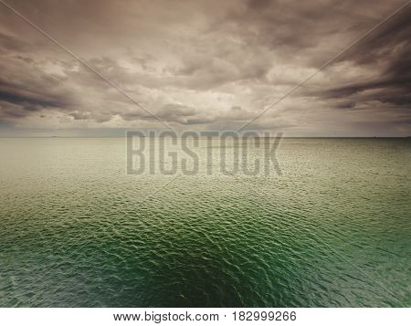 Idyllic Shot Of Horizontal Sea Water And Sky