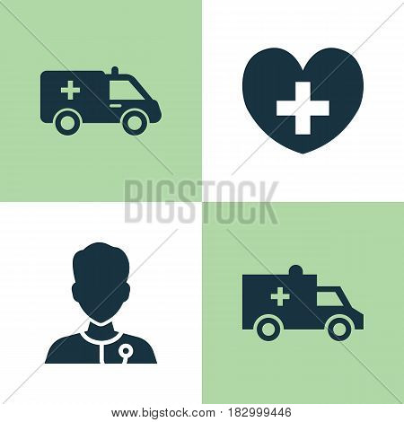 Medicine Icons Set. Collection Of Healer, Heal, Bus And Other Elements. Also Includes Symbols Such As Ambulance, Bus, Cure.