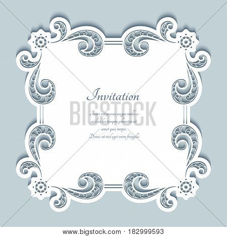 Square vector frame with cutout paper border pattern, lace doily, greeting card or wedding invitation template