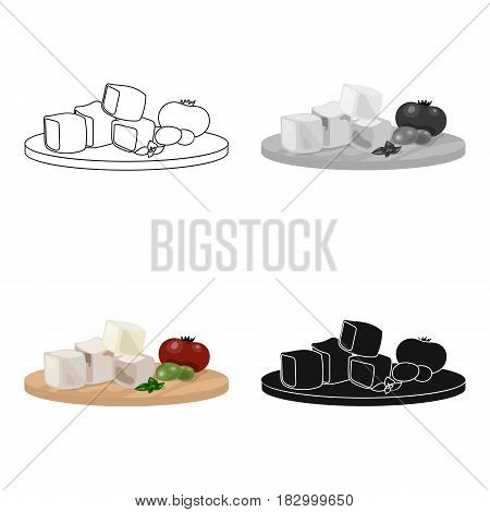 Diced cheese feta with tomatoes and olives on the cutting board icon in cartoon style isolated on white background. Greece symbol vector illustration.