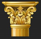Golden Capital of the Corinthian column in the Baroque style. Classical architectural support. Vector graphics poster