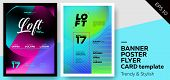 Set of Trendy Colourful Covers. Musical Party Template: Electro Techno House. Template for Poster Promo Web Banner Party Flyer Invitation. poster
