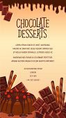 Chocolate desserts vector poster. Confectionery sweets and pies, tortes, tiramisu or brownie pudding with chocolate bars and fondant glaze. Design for cafeteria cafe, bakery or pastry patisserie poster