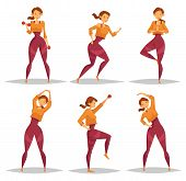 Set of isolated girls doing workout or woman at fitness or crossfit club, lady doing stretching and female training with barbell. Sport aerobic exercise and healthy lifestyle, gym or gymnasium theme poster