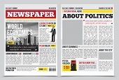 Daily newspaper journal design template with two-page opening editable headlines quotes text articles and images vector illustration poster