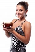 Smiling woman with cup of hot black tea poster