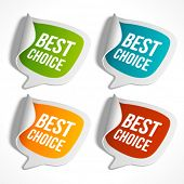 Vector sale stickers set with best choice message. Transparent shadow easy replace background and edit colors. poster