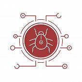 Computer virus flat linear long shadow icon. Malware and spyware bug. Vector line symbol poster