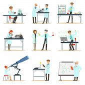 Scientists At Work In A Lab And An Office Set Of Smiling People Working In Academic Science Doing Scientific Research. Men And Women In White Lab Coats Running Experiments In Laboratory Vector Illustrations. poster
