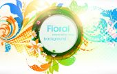Abstract vector floral summer background with flowers, sun and ladybird. eps 10. poster
