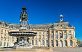 Fountain of the Three Graces at on the Place de la Bourse in Bordeaux - France, Aquitaine poster