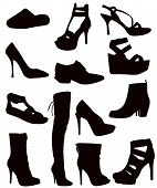 Isolated Ladies Footwear - Black on white (shoes boots sandals slops slippers) poster