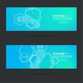 Abstract footer with transparent cubes, hexagons carcass. Techno design of future. technology, science, research. cyberspace cells. Digital Data Visualization. Futuristic vector header. Blue green poster