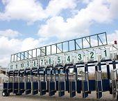 Start gates for horse races in city Pyatigorsk,Caucasus. poster