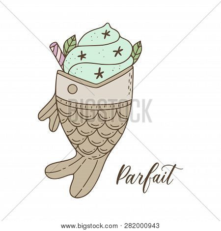 Illustration Of Japanese Corean Fish Shaped Parfait With Matcha Flavor Ice-cream And Toppings.