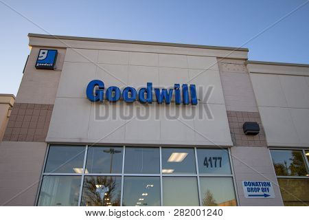 Port Huron, Michigan, Usa - October 10, 2018: Exterior Of The Goodwill Industries Store. The Non Pro