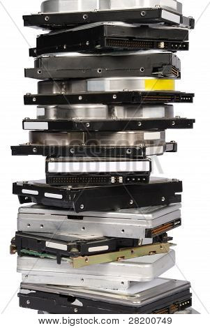 big stacked Hard drives isolated on white background poster