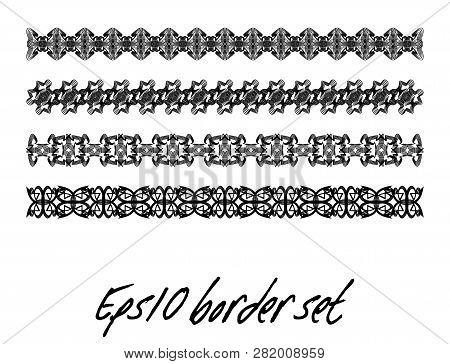 Antiquarian Border Set In Black And White, Monochrome Collection Of Vintage Border, Filigree Art Dec