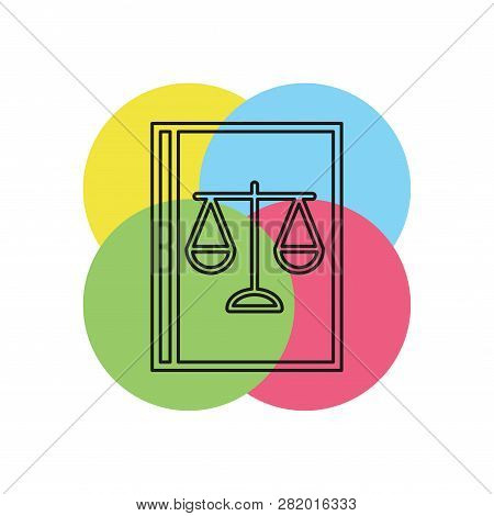 Law Book Icon - Judge Icon - Legal Sign - Judgment Illustration. Thin Line Pictogram - Outline Strok