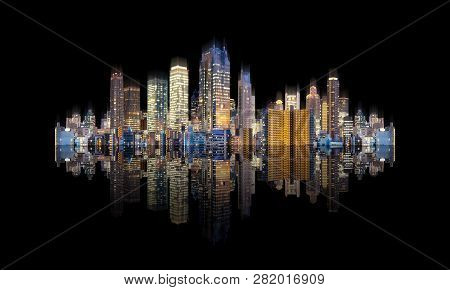 Futuristic Modern Buildings With Reflection, Isolated On Black Background