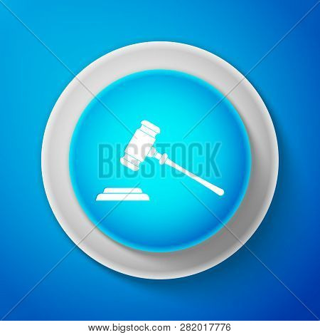 Judge Gavel Icon Isolated On Blue Background. Gavel For Adjudication Of Sentences And Bills, Court,