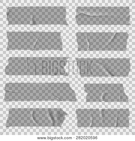 Scotch Tape. Transparent Adhesive Tapes, Grey Sticky Pieces. Isolated Vector Set